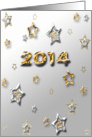 2014, New Year, Silver and Gold Colored Stars card