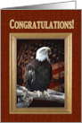 Congratulations Eagle Scout, Proud Eagle on log with old flag in gold card
