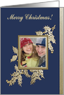 Gold Holly Leaf Photo Card, Merry Christmas card