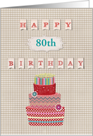 80th Birthday Party Invitation, Cake with Candles, Custom Text card