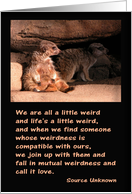 We are all a little weird, Meerkats, Anniversary card