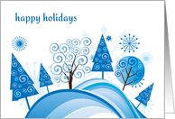 Blue Trees, Happy Holidays card