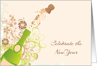 Popping Cork, Champagne Bottle, New Year's Invitation card