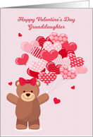 Granddaughter Valentine's Day with Bear and Heart Balloons card