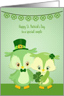 Special Couple St. Patrick's Day Owl Pair card
