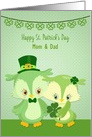 Customizable St. Patrick's Day Owl Couple Parents card