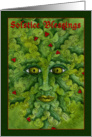 Greenman Holly Solstice Card