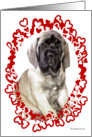 Mastiff pup in red heart oval card