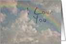 I Love You, Raindrops on Window with Rainbow card