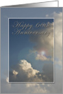 Happy 60th Anniversary - Wedding, Blue Sky with Clouds card