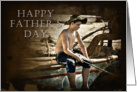 Happy Father's Day, Boy Fishing on Boat card