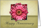 Happy Anniversary - Pink Flower on Green and Tan Background card