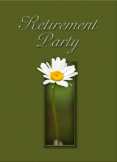 Retirement Party Invitation, White Daisy on Green Background Greeting Card