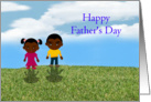 Happy Father's Day African-American with kids card