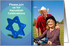 Hanukkah Invitation Jewish holiday with Star of David photo card