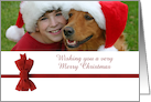 Christmas photo card with red ribbon holiday season greetings card