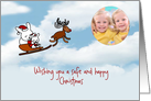 Christmas photo card with bunny rabbit and baby on sleigh card