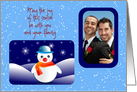 Christmas photo card with snowman card