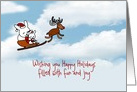 Christmas card with bunny rabbit and baby on sleigh card