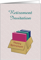 Retirement Invitation custom text with files and book in box card