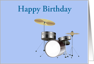 Happy Birthday with drum kit for drummer or musician card
