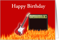 Happy Birthday with guitar and flames custom text card
