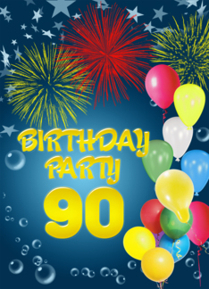Balloons and fireworks 90th birthday party Greeting Card