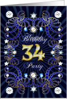 34th Birthday party invitation with a jewelled effect card