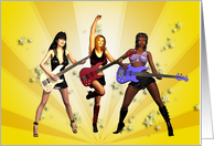 Rock Chicks group with guitars card