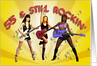 55th birthday Rock Chicks group with guitars card