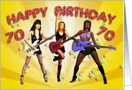 70th birthday card with a Rock Chicks group with guitars card