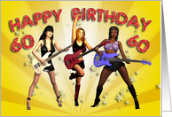 60th birthday card with a Rock Chicks group with guitars card