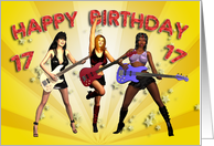 17th birthday card with a Rock Chicks group with guitars card