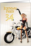 34 Birthday party invitation with sexy girl and a bike card