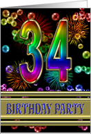 34th Birthday party invitation with bubbles and fireworks card