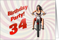 34th Birthday party invite with a sexy girl riding a motorbike. card