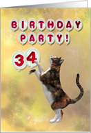 34th Birthday party invitation with playful cat card
