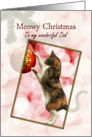 Dad, Meowy Christmas with a playful cat. card
