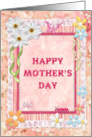 Mother's Day, Flowers and butterflies craft-look card