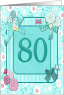 80th birthday Flowers and butterflies craft-look card