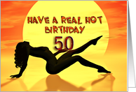 50th, Sunbathing beauty birthday card