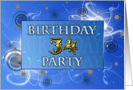 A 34th Birthday party invitation in a blue abstract design card