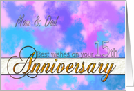 Abstract watercolor 15th anniversary card, for Mom and Dad card