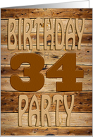 A carved wooden 34th birthday party invitation card