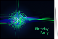 34th Birthday party invitation card