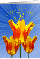 34th surprise party card, tulips full of sunshine card