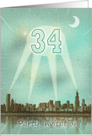 34th Birthday party invitation as a retro city movie poster with spotlights card