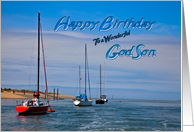 Birthday for a Godson with boats on the ocean card