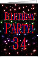 34th Birthday party invitation with fireworks card