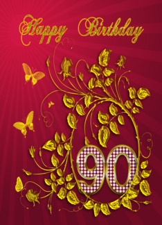 90th Birthday party with golden butterflies Greeting Card
